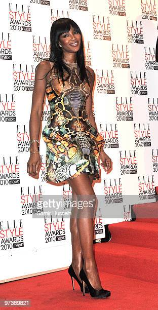 Naomi Campbell arrives at The ELLE Style Awards 2010 at the Grand Connaught Rooms on February 22, 2010 in London, England.