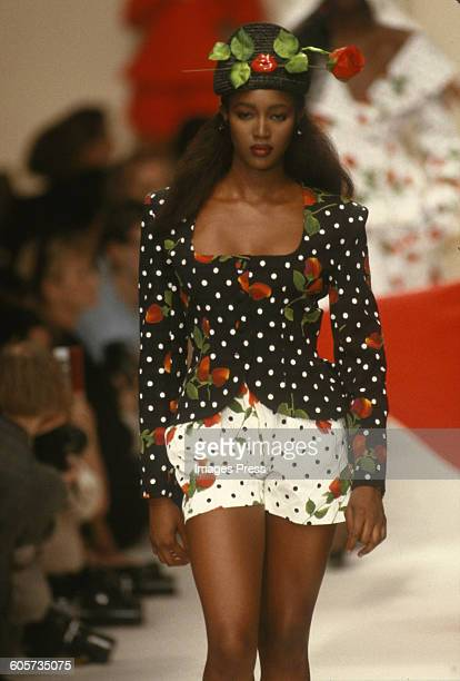 Naomi Campbell at the Patrick Kelly Spring 1989 show circa 1988 in Paris France