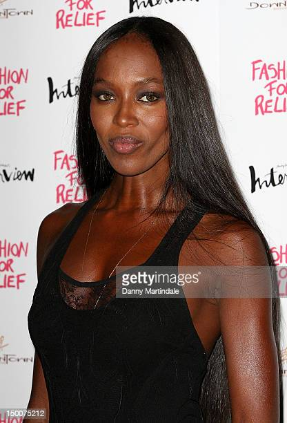 Naomi Campbell attend an olympic celebration dinner hosted by herself in partnership with Fashion For Relief at LondonÕs Downtown Mayfair on August 9...
