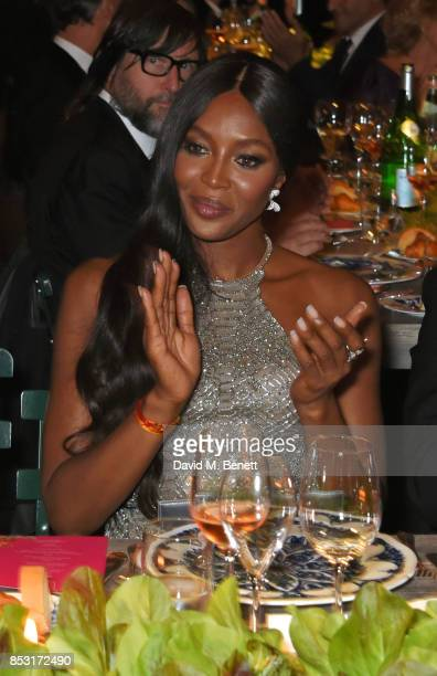 Naomi Campbell attends a private dinner hosted by Livia Firth following the Green Carpet Fashion Awards Italia at Palazzo Marino on September 24 2017...