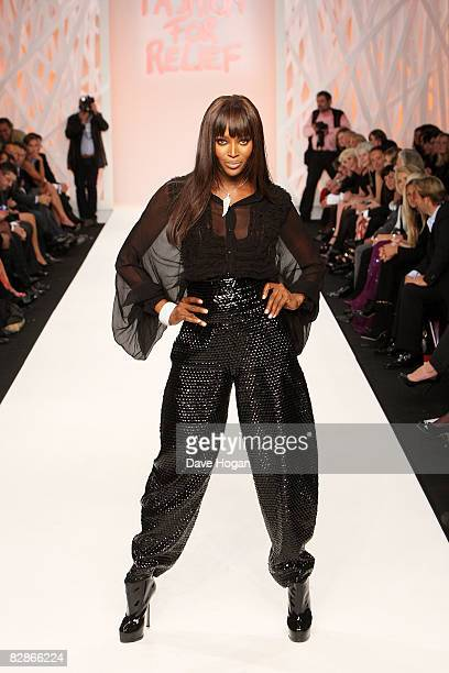 Naomi Campbell attends Naomi Campbell's Fashion For Relief Show at London Fashion Week held at the National History Museum on September 17 2008 in...