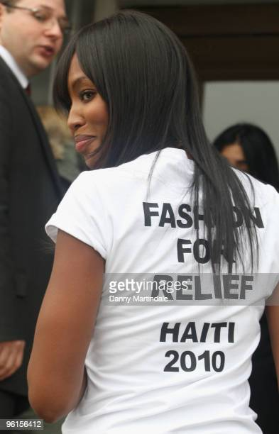 Naomi Campbell attends photocall to announce 'Fashion For Relief 2010' at Somerset House on January 25 2010 in London England