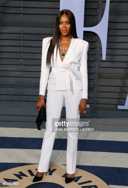 Naomi Campbell attends the 2018 Vanity Fair Oscar Party following the 90th Academy Awards at The Wallis Annenberg Center for the Performing Arts in...