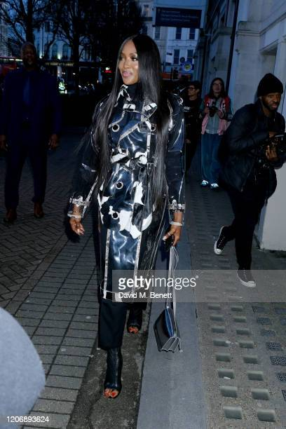 Naomi Campbell attends the Burberry Autumn/Winter 2020 show during London Fashion Week on February 17, 2020 in London, England.