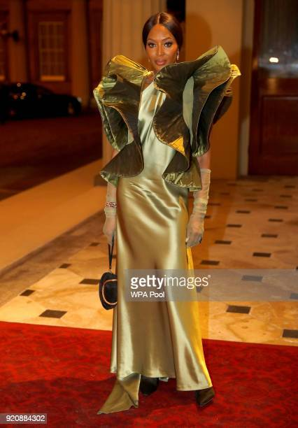 Naomi Campbell attends The Commonwealth Fashion Exchange Reception at Buckingham Palace on February 19 2018 in London England