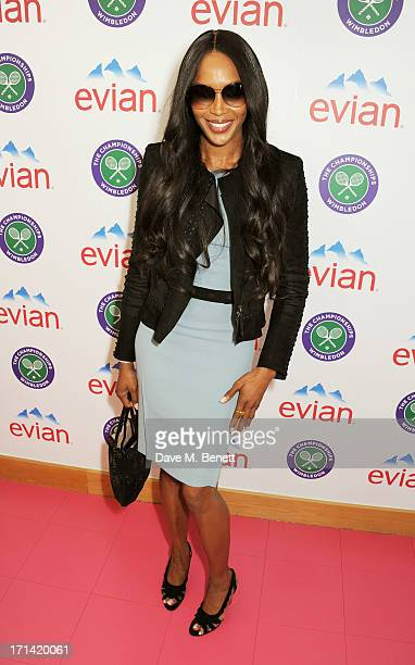 Naomi Campbell attends the evian 'Live Young' Suite at Wimbledon on June 24 2013 in London England