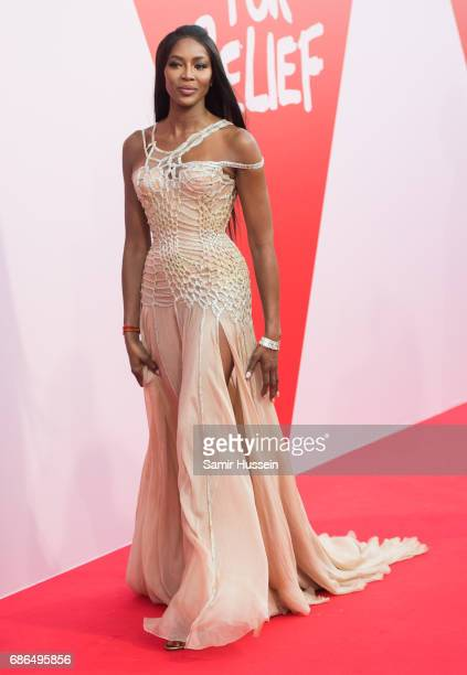 Naomi Campbell attends the Fashion for Relief event during the 70th annual Cannes Film Festival at Aeroport Cannes Mandelieu on May 21 2017 in Cannes...