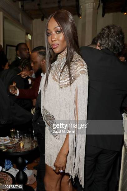 Naomi Campbell attends the Warner Music CIROC BRIT Awards house party in association with GQ at The Chiltern Firehouse on February 18 2020 in London...