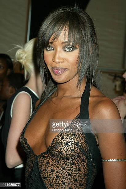 Naomi Campbell backstage in a Luca Luca dress during Luca Luca Fall Winter 2003 Show at The Tent at Bryant Park in New York NY United States