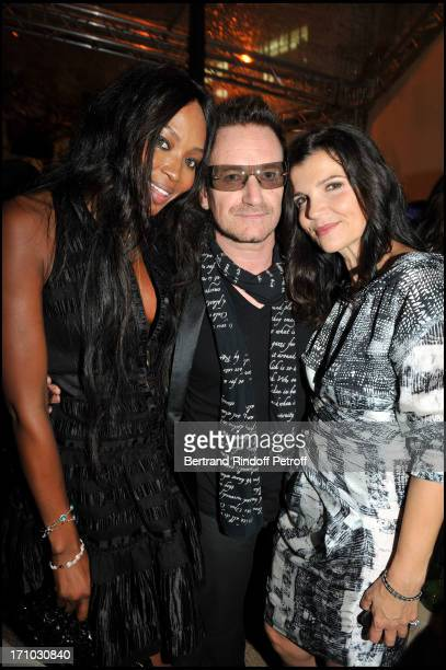 Naomi Campbell Bono and Ali Hewson at Every Journey Began In Africa Party For The Exhibition Africa Rising And The Discovery Of The Collaboration...