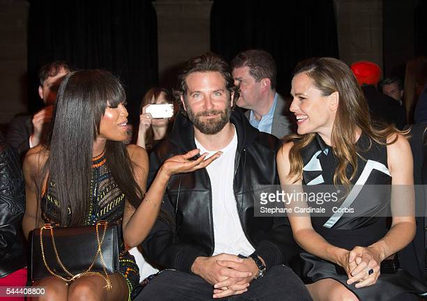 Naomi Campbell Bradley Cooper and Jennifer Garner attend the Versace Haute Couture Fall/Winter 20162017 show as part of Paris Fashion Week on July 3...