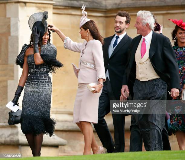 Naomi Campbell Countess Debonnaire von Bismarck and Count Leopold von Bismarck attend the wedding of Princess Eugenie of York and Jack Brooksbank at...