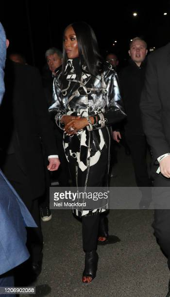 Naomi Campbell departs Burberry at Kensington Olympia during LFW February 2020 on February 17 2020 in London England