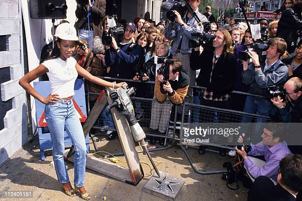 Naomi Campbell during Naomi Campbell Opens the Harrods Summer Sale at Harrods in London Great Britain