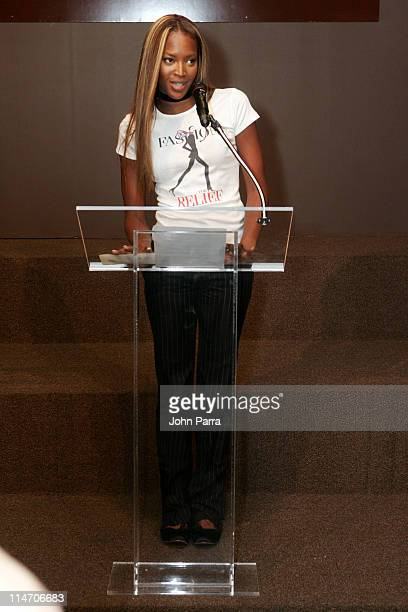 Naomi Campbell during Olympus Fashion Week Spring 2006 'Fashion For Relief' Press Conference at Bryant Park in New York City New York United States