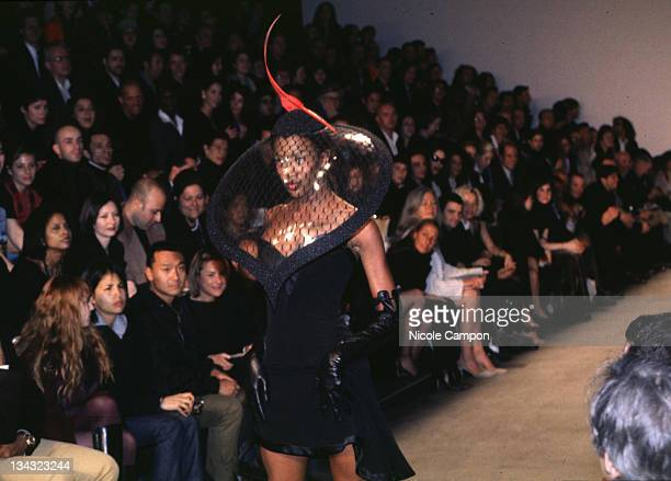 Naomi Campbell during Philip Treacy Fashion Show 1997 at Bryant Park Tents in New York City New York United States