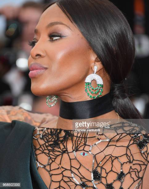 Naomi Campbell earring detail attends the screening of Blackkklansman during the 71st annual Cannes Film Festival at Palais des Festivals on May 14...