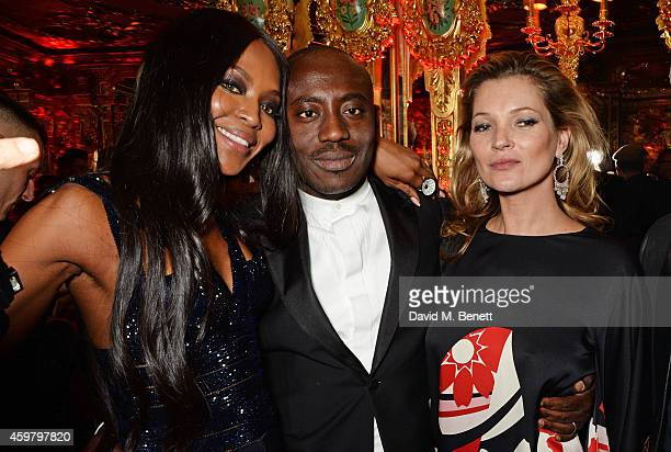 Naomi Campbell Edward Enninful and Kate Moss attend a party in celebration of Edward Enninful in The Oscar Wilde Bar Hotel Cafe Royal on December 1...