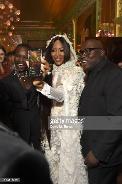 Naomi Campbell Edward Enninful and Sam McKnight attend as Tiffany Co partners with British Vogue Edward Enninful Steve McQueen Kate Moss and Naomi...