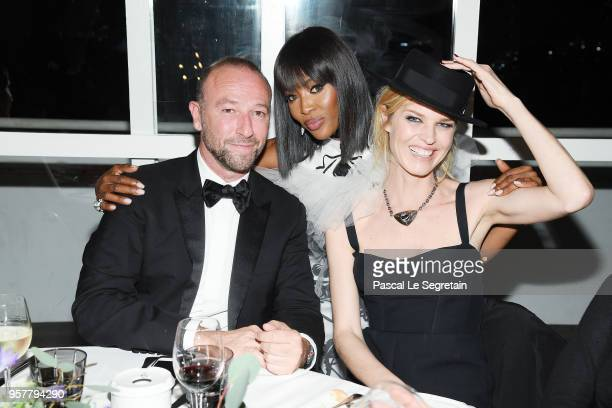 Naomi Campbell Eva Herzigova and Jerome Pulis attend a Dior dinner during the 71st annual Cannes Film Festival at JW Marriott on May 12 2018 in...