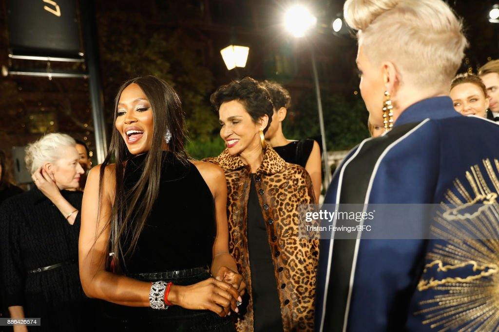 Naomi Campbell, Farida Khelfa and Pink attend The Fashion Awards 2017 in partnership with Swarovski at Royal Albert Hall on December 4, 2017 in London, England.