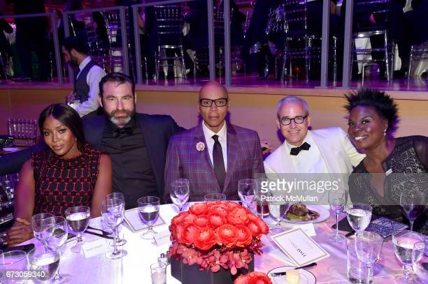 Naomi Campbell Georges LeBar RuPaul Andre Charles Jess Cagle and Leslie Jones attend the 2017 TIME 100 Gala at Jazz at Lincoln Center on April 25...