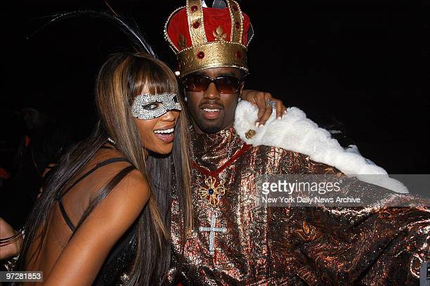 Naomi Campbell gets together with Sean Combs at her Dolce Gabbana Haunted House Halloween Party at Cipriani's 42nd St