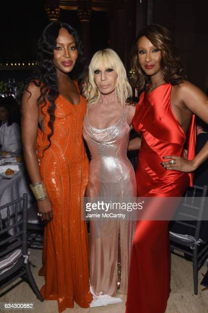 Naomi Campbell Honoree Donatella Versace and Iman attend the 19th Annual amfAR New York Gala at Cipriani Wall Street on February 8 2017 in New York...