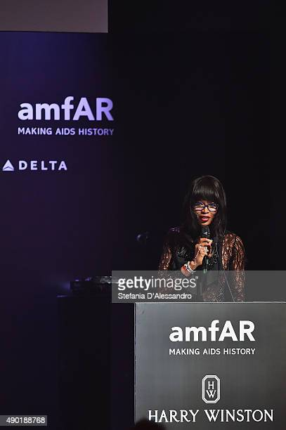 Naomi Campbell is seen at amfAR Milano 2015 at La Permanente on September 26 2015 in Milan Italy