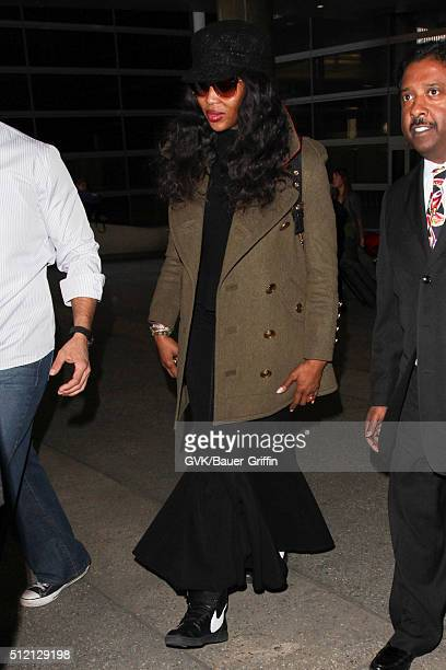 Naomi Campbell is seen at LAX on February 24 2016 in Los Angeles California