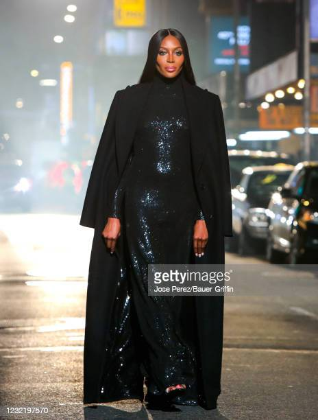 Naomi Campbell is seen during Michael Kors Fashion Show at Times Square on April 08, 2021 in New York City.