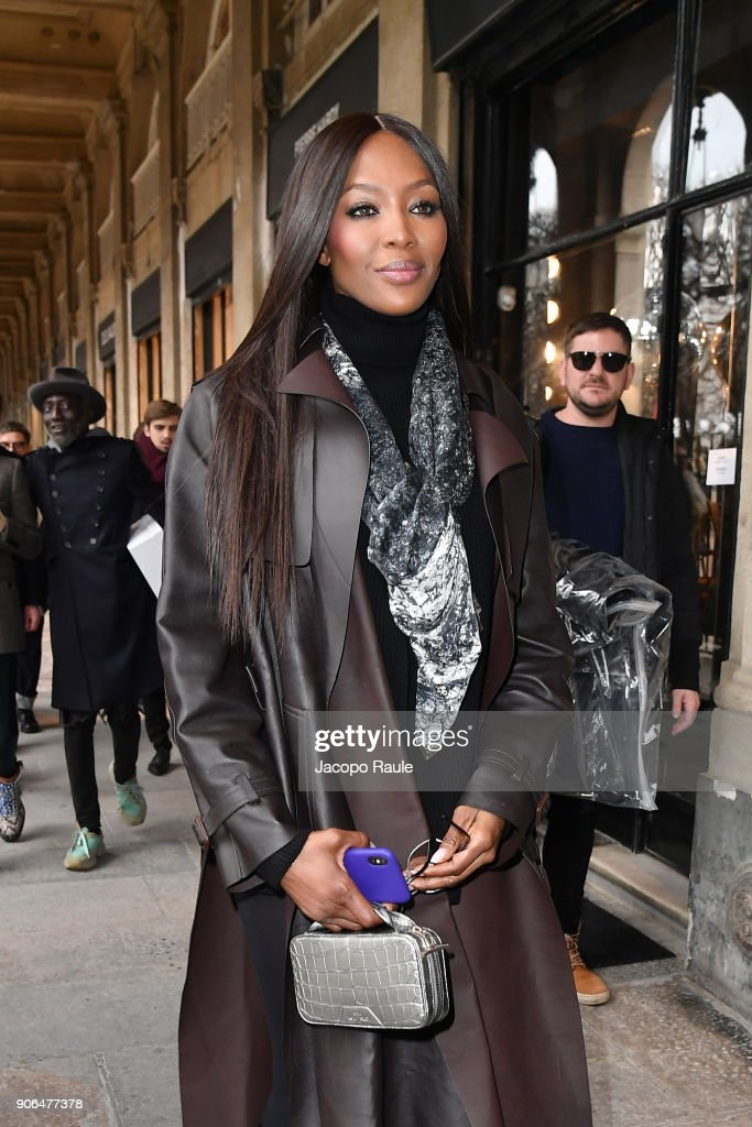 Naomi Campbell is seen leaving the Louis Vuitton Menswear Fall/Winter 2018-2019 show as part of Paris Fashion Week on January 18, 2018 in Paris, France.