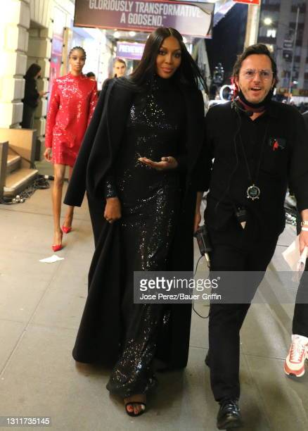 Naomi Campbell is seen on the set of the Michael Kors fashion show on April 08, 2021 in New York City.