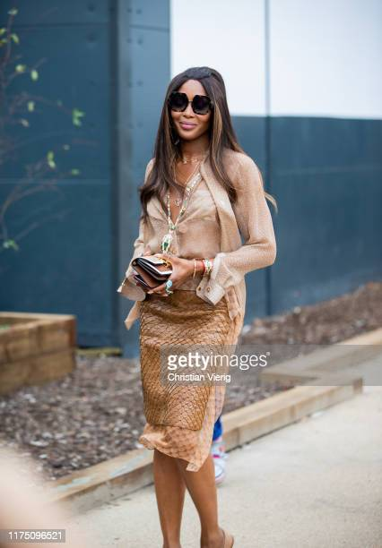 Naomi Campbell is seen outside Burberry during London Fashion Week September 2019 on September 16 2019 in London England