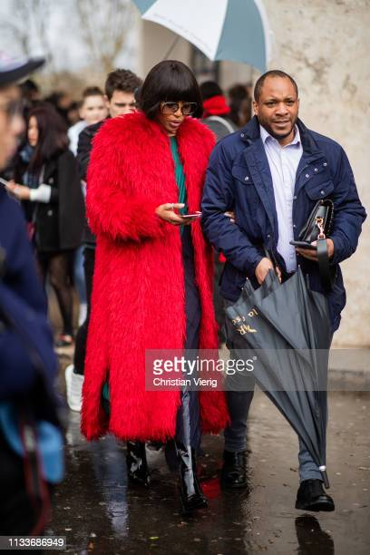 Naomi Campbell is seen wearing red coat outside Sacai during Paris Fashion Week Womenswear Fall/Winter 2019/2020 on March 04 2019 in Paris France