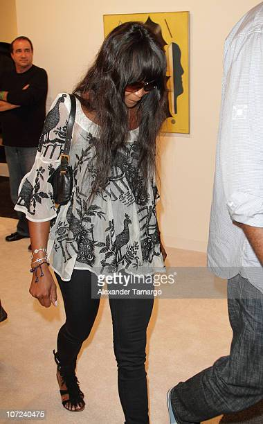 Naomi Campbell is sighted during Art Basel Miami Beach at the Miami Beach Convention Center on December 1 2010 in Miami Beach Florida