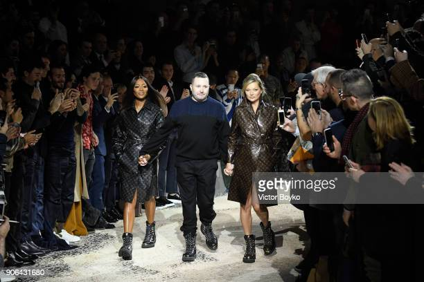 Naomi Campbell Kim Jones and Kate Moss walk the runway during the finale of the Louis Vuitton Menswear Fall/Winter 20182019 show as part of Paris...
