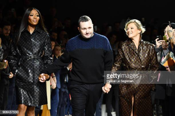 Naomi Campbell Kim Jones and Kate Moss walk the runway during the Louis Vuitton Menswear Fall/Winter 20182019 show as part of Paris Fashion Week on...