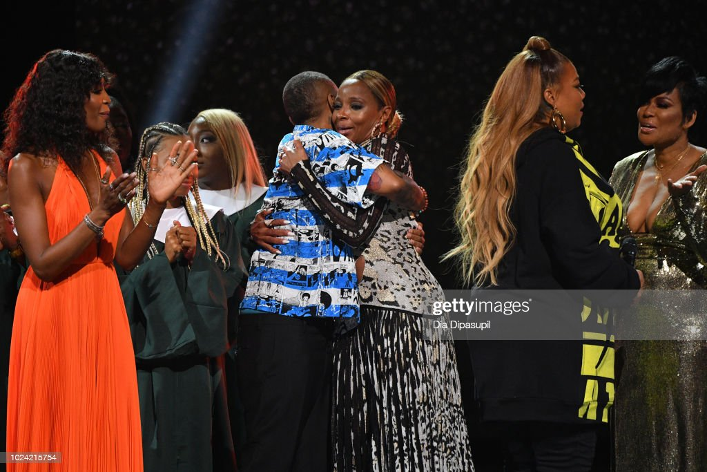 Naomi Campbell, Lena Waithe, Mary J. Blige, Queen Latifah and Beverly Bond onstage during the Black Girls Rock! 2018 Show at NJPAC on August 26, 2018 in Newark, New Jersey.