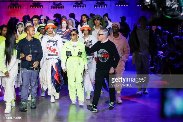 Naomi Campbell, Lewis Hamilton and fashion designer Tommy Hilfiger walk the runway at the Tommy Hilfiger Ready to Wear Spring/Summer 2020 fashion...