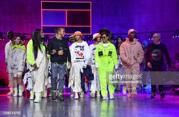 Naomi Campbell, Lewis Hamilton, H.E.R and Tommy Hilfiger walk the runway with models at the TommyNow show during London Fashion Week February 2020 at...