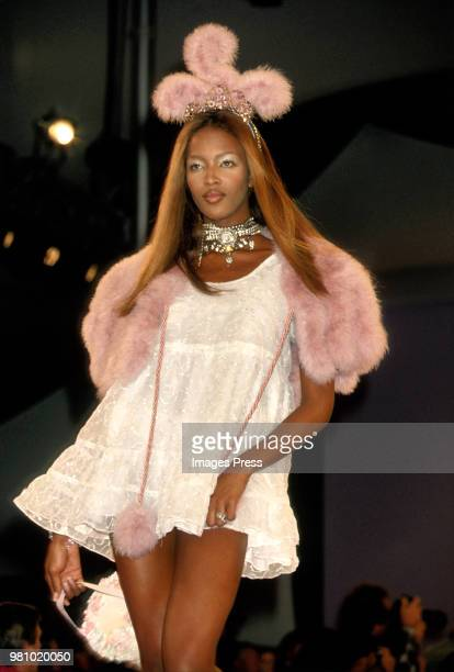 Naomi Campbell models Anna Sui at New York Fashion Week 1994 in New York.