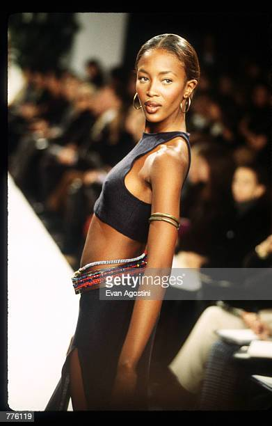 Naomi Campbell models clothing from the Ralph Lauren Spring 97 collection at the 7th on Sixth Fashion Show October 30 1996 in New York City Ralph...