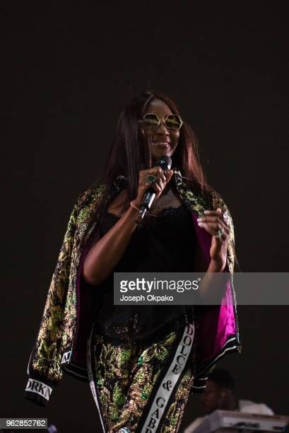 Naomi Campbell on stage during AFROREPUBLIK festival at The O2 Arena on May 26 2018 in London England