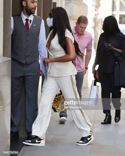 Naomi Campbell seen arriving at a hotel on September 16, 2021 in London, England.