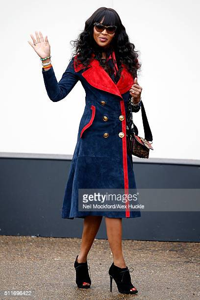 Naomi Campbell seen arriving at the A/W 16 Burberry Catwalk Show at Kensington Gardens on February 22 2016 in London England