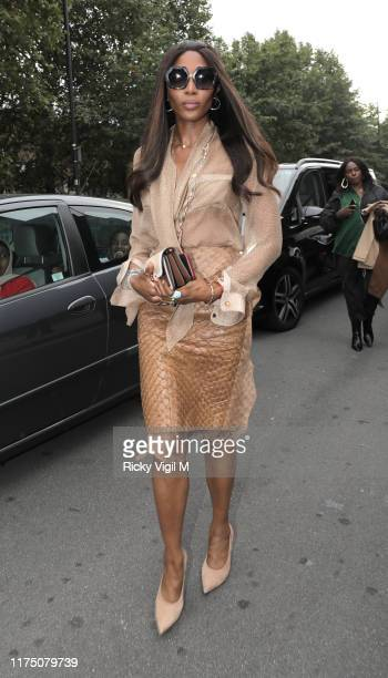 Naomi Campbell seen attending Burberry catwalk show held at Troubadour White City City Theatre during LFW September 2019 on September 16 2019 in...
