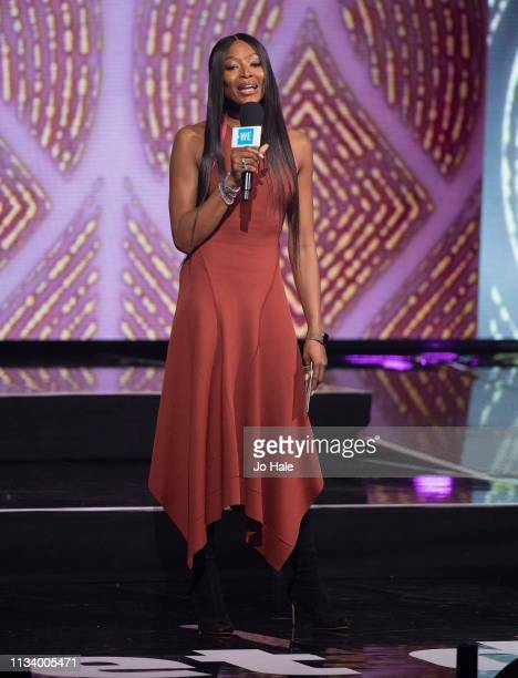 Naomi Campbell speaks on stage at at We Day UK at SSE Arena on March 06 2019 in London England