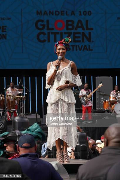 Naomi Campbell speaks on stage during the Global Citizen Festival Mandela 100 at FNB Stadium on December 2 2018 in Johannesburg South Africa