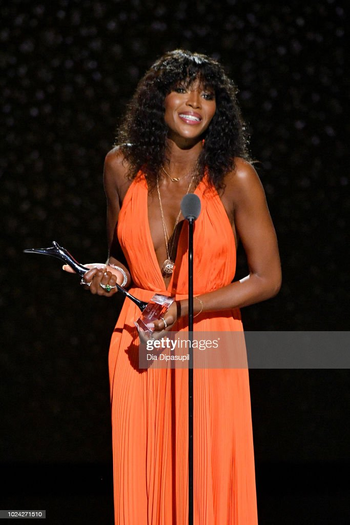 Naomi Campbell speaks onstage during the Black Girls Rock! 2018 Show at NJPAC on August 26, 2018 in Newark, New Jersey.